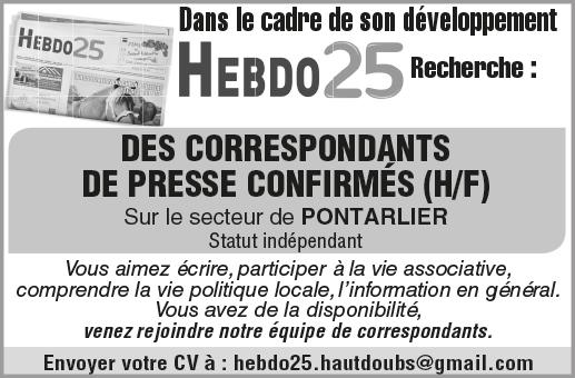 Hebdo 25 Pontarlier recrute Journalistes